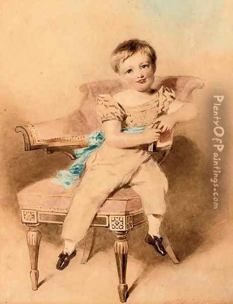 Portrait of a boy, seated, wearing a blue sash Oil Painting - Alfred-Edward Chalon
