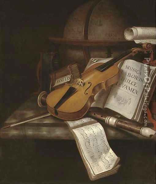 A vanitas still life with a violin, a recorder, books, a scroll and music with a globe on a marble ledge Oil Painting - Edwart Collier