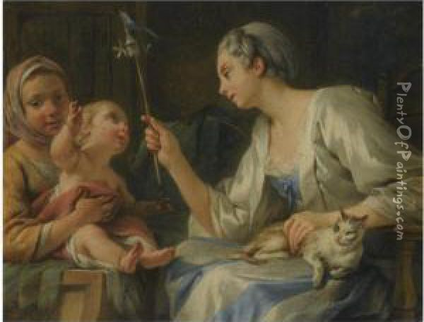 An Interior With Two Women Entertaining A Child Oil Painting - Noel Halle