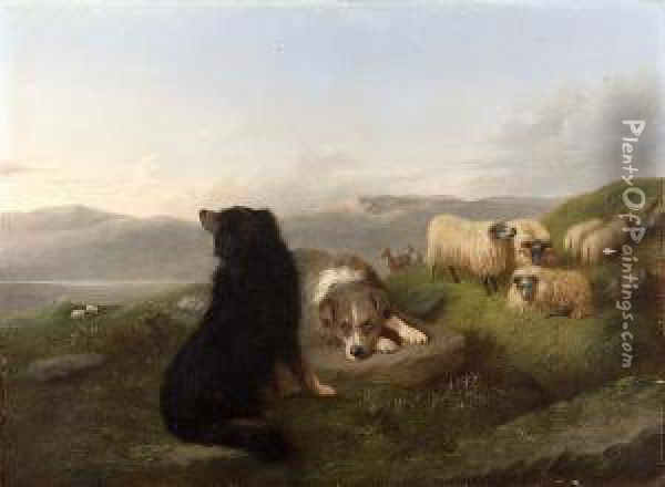 A Collie And Flock On A Mountain Ridge Oil Painting - Joseph Horlor