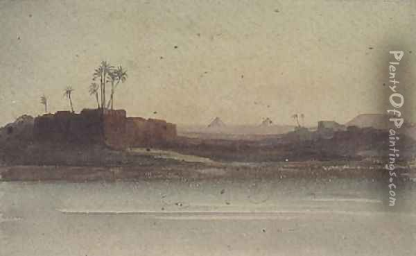 First View of the Pyramids from the Nile near Cairo Oil Painting - G.S. Cautley