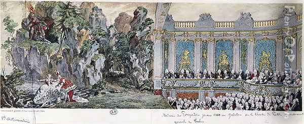 Jeanne Antoinette Poisson (1721-64), Marquise de Pompadour and the Vicomte de Rohan acting in the opera 'Acis et Galatee' in the Theatre des Petits Cabinets at Versailles, February 10th, 1749 Oil Painting - Cochin, Charles Nicolas II