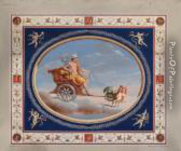 Mercury In A Chariot Drawn By Cockerels; And Mars Standing In Achariot Drawn By Horses Oil Painting - Michaelangelo Maestri