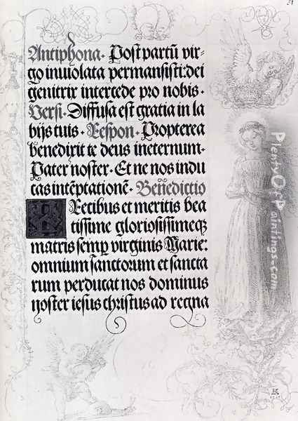 Pages Of Marginal Drawings For Emperor Maximilian's Prayer Book (Pic2) Oil Painting - Albrecht Durer