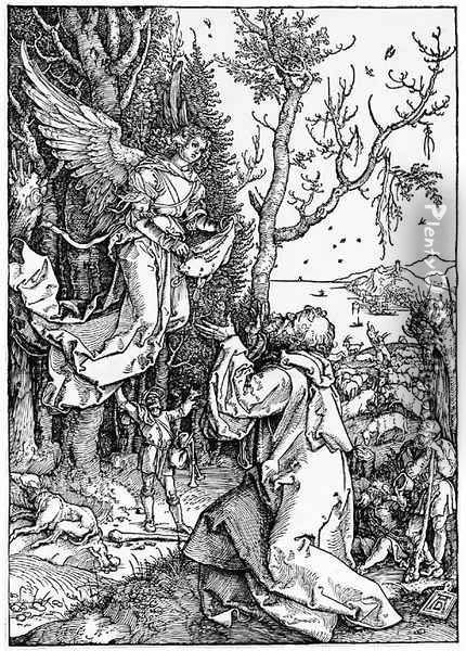 Joachim and the Angel, from The Life of the Virgin Oil Painting - Albrecht Durer