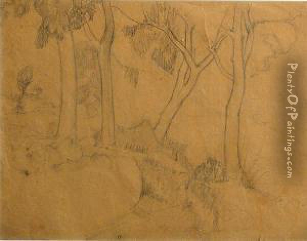 Untitled (view From House); Untitled (trees);paysage (3) Oil Painting - Jean Hippolyte Marchand