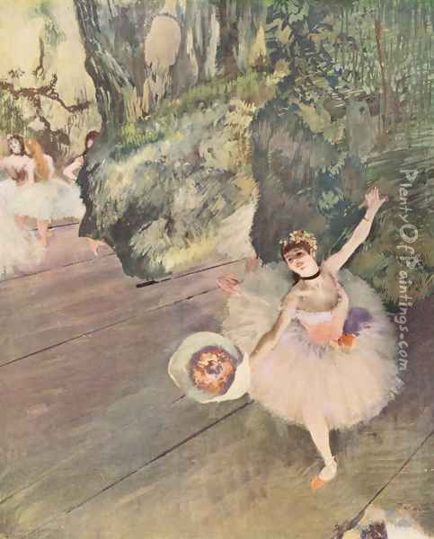 Dancer with a Bouquet of Flowers (Star of the Ballet), 1878 Oil Painting - Edgar Degas