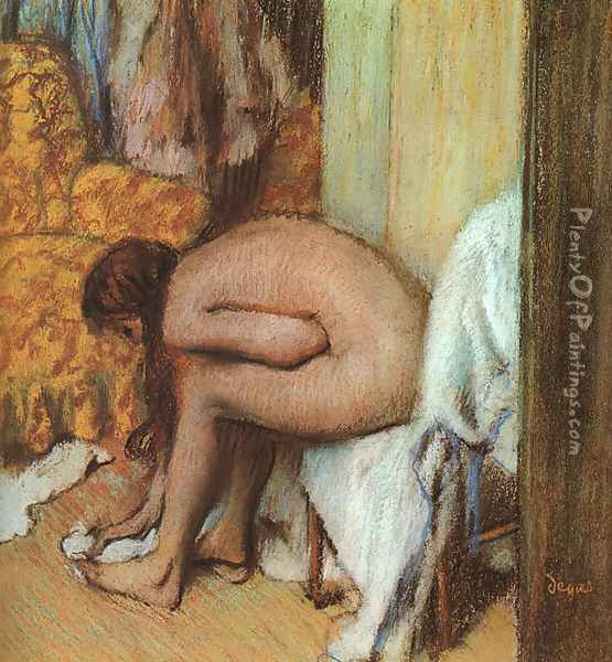 After the Bath- Woman Drying her feet 1886 Oil Painting - Edgar Degas