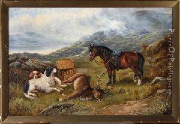 A Highland Sporting Scene With A Pony Oil Painting - Charles Morris