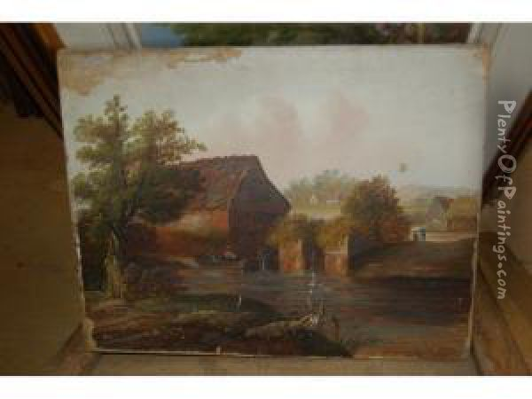 An Angler In A Punt Before A Watermill Oil Painting - Charles Morris