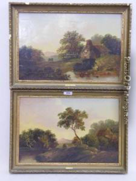 Rural River Landscape With Fisherman And Cart Oil Painting - Charles Morris