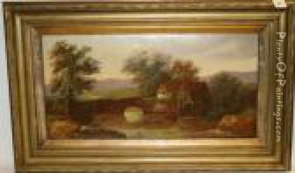 Study Of A Watermill Beside A Bridge Oil Painting - Charles Morris