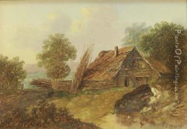 Cottage And River Scenes Oil Painting - Charles Morris