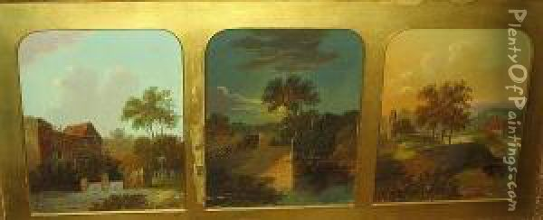 Landscape With Watermill; Moonlit Landscape, And Another Landscape Oil Painting - Charles Morris