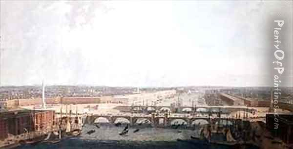 View of London with the Improvements of its Port and the double London Bridge. Submitted to the Select Committee of the House of Commons by William Daniel Oil Painting - William Daniell RA