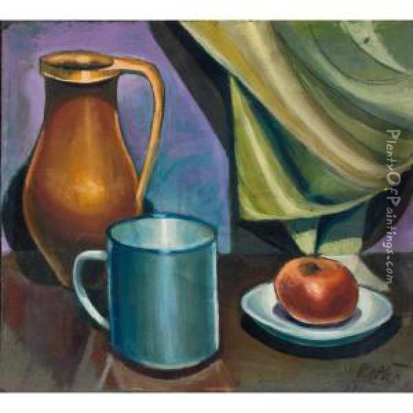 Still Life With An Apple And Jug (recto); Portrait Of A Man (verso) Oil Painting - Karoly Patko