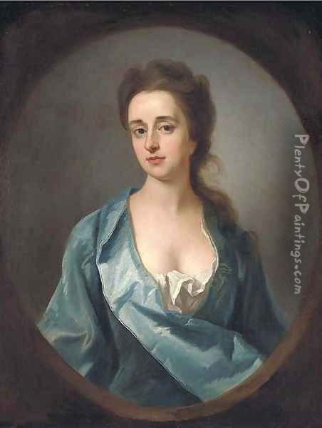 Portrait of Mary Dowdeswell, half-length, in a blue gown, feigned oval Oil Painting - Michael Dahl