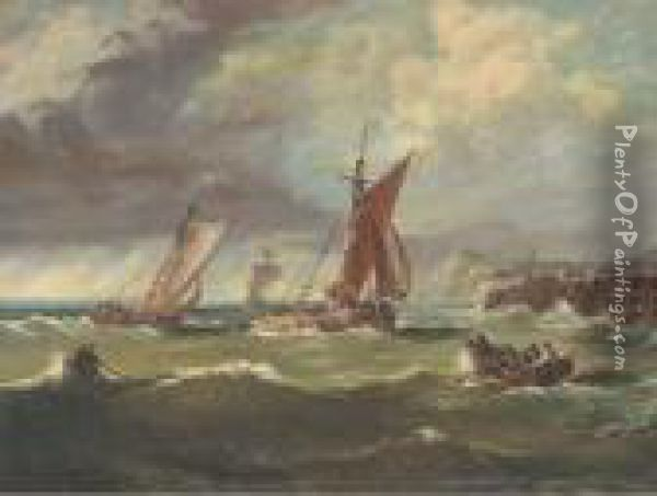 Congestion At The Harbour Mouth Oil Painting - Ary Pleysier