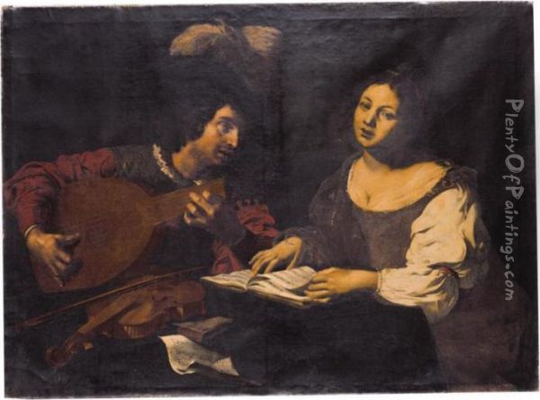 A Musician Playing A Lute To A Singing Girl Oil Painting - Niccolo Renieri (see Regnier, Nicolas)