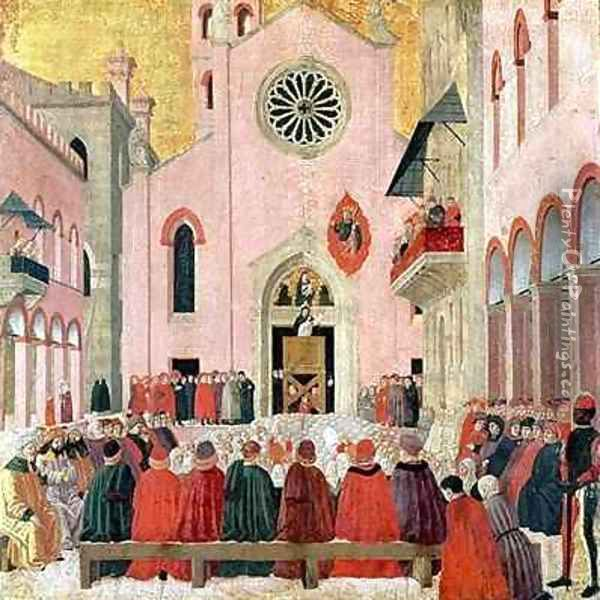 St Vincent Ferrer Preaching in front of the Church of Sant Eufemia in Verona Oil Painting - Bartolomeo degli Erri