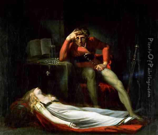 The Italian Court or Ezzelier Count of Ravenna musing over the body of Meduna slain by him for infidelity during his absence in the Holy Land Oil Painting - Johann Henry Fuseli