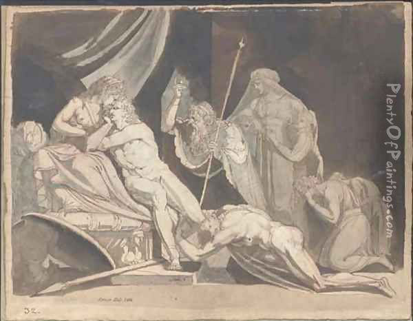 Meleager implored by the Aetolians to defend the City of Calydon (Iliad IX, 574-586) Oil Painting - Johann Henry Fuseli