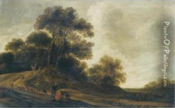 A Dune Landscape With Travellers  Resting Beside A Road, A Shepherd Driving His Flock Towards A Wood  Beyond Oil Painting - Pieter Jansz. van Asch