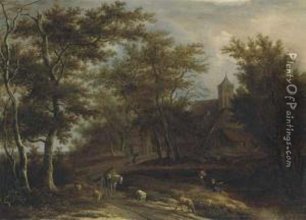 A Wooded River Landscape With A  Peasant On Horseback, A Shepherdwith His Flock And Other Peasants  Fishing Outside A Village Oil Painting - Pieter Jansz. van Asch