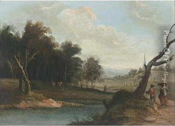 A Wooded River Landscape, A Couple And A Horseman On A Path, A Village Beyond Oil Painting - Pieter Jansz. van Asch