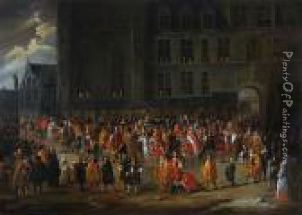 The Parade Of Theknights Of The Golden Fleece Outside The Ducal Palace Inbrussels Oil Painting - Gillis van Tilborgh