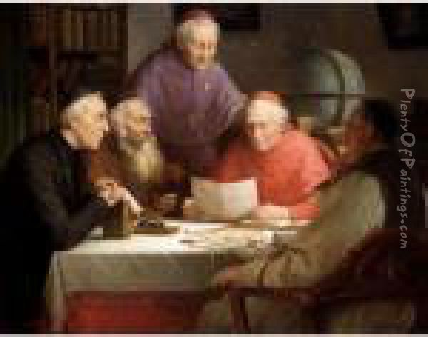 A Theological Discussion Oil Painting - Josef Wagner-Hohenberg