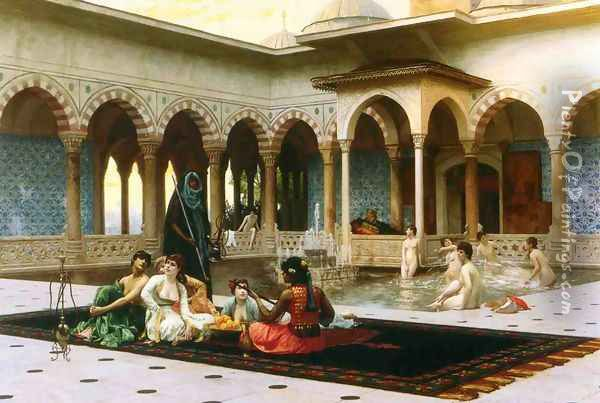 The Harem on the Terrace Oil Painting - Jean-Leon Gerome