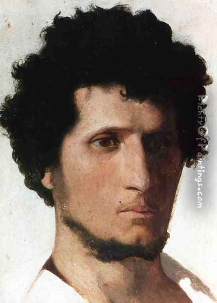 Head of a Peasant of the Roman Campagna Oil Painting - Jean-Leon Gerome