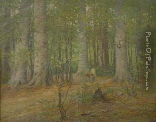 Hunting In Forest Interior Oil Painting - Cullen Yates