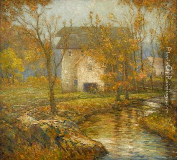 House By A River, Autumn Oil Painting - Cullen Yates