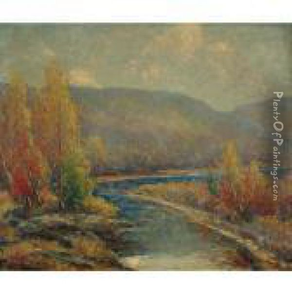 Autumn On The Delaware Oil Painting - Cullen Yates