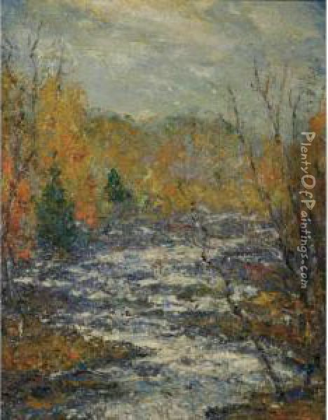 Autumn, Shawnee-on-del[aware], Pa. (buttermilk Falls) Oil Painting - Cullen Yates