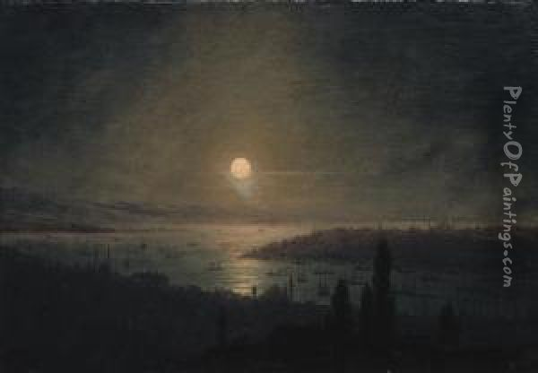View Of Constantinople At Night Oil Painting - Ivan Konstantinovich Aivazovsky