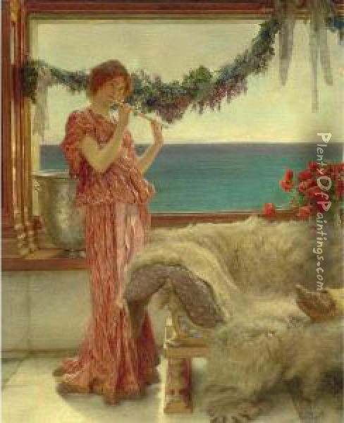 Melody On A Mediterranean Terrace Oil Painting - Sir Lawrence Alma-Tadema