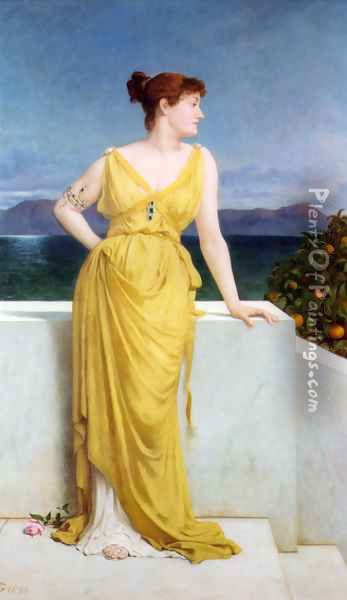 Mrs. Charles Kettlewell in Neo-classical Dress Oil Painting - Frederick Goodall