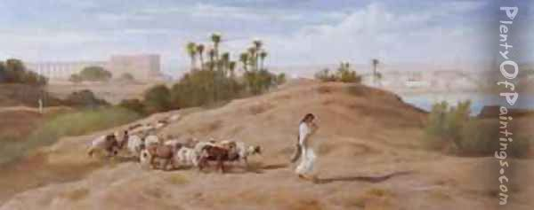 A Goat Herd near Cairo Oil Painting - Frederick Goodall