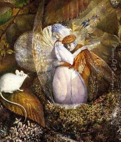 Fairy Lovers in a Birds Nest Watching a White Mouse Oil Painting - Frederick Goodall