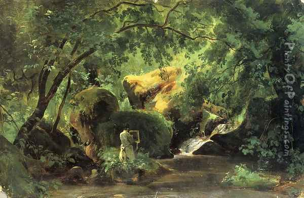Forest Interior with an Artist, Civita Castellana Oil Painting - Andre Giroux