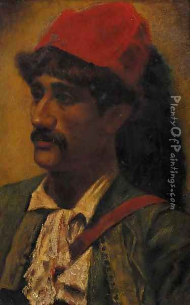 Portrait of a man in a red turban Oil Painting - Frederick Goodall