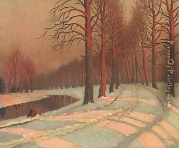 A riverside track in the snow Oil Painting - Mikhail Markianovich Germanshev