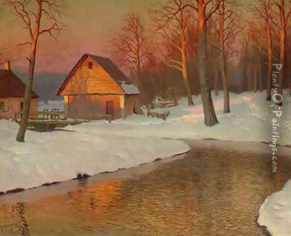 Winter Landscape with Cottage Oil Painting - Mikhail Markianovich Germanshev