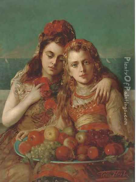Friends eating fruit by the sea Oil Painting - Leon Herbo