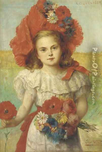 Coquelicot a young girl with poppies Oil Painting - Leon Herbo