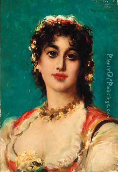 A young beauty Oil Painting - Leon Herbo