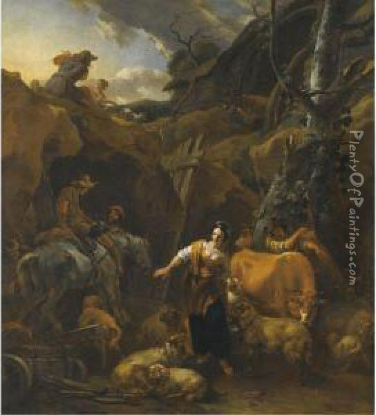 A Mountainous Italianate Landscape With Milkmaids And Otherfigures Oil Painting - Nicolaes Berchem